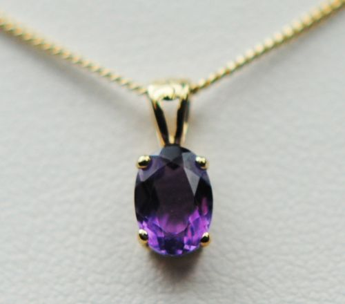 Oval Purple Amethyst Yellow Gold Necklace 6418 YAM